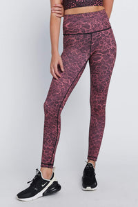 High Waist Reversible Leggings Mauve Cheer