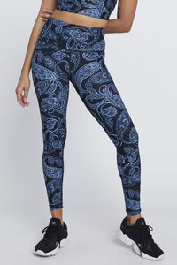 High Waist Reversible Leggings Sky Paisley