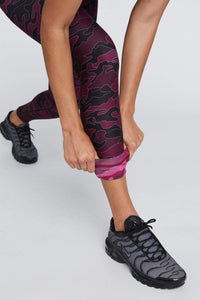 High Waist Reversible Leggings Burgundy Line Camo