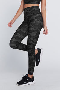 High Waist Reversible Leggings Black Line Camo