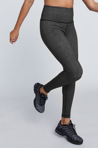High Waist Reversible Leggings Black And Grey Stripe