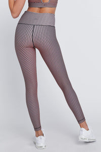High Waist Leggings Neon Nude Rhombus