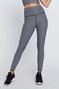 High Waist Reversible Leggings Black And White Houndstooth - Black Cheetah