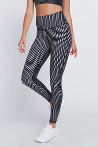 High Waist Leggings Black Rhombus