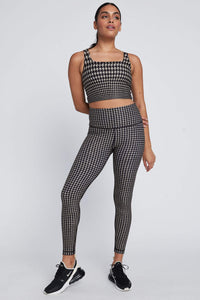 High Waist Reversible Leggings Chino Houndstooth - Real Cheetah
