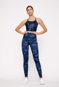 Avery Cropped Tank Navy Blue Tie Dye WITHDEV