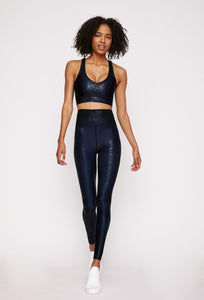 High-Waist Legging Blue Black Viper Foil