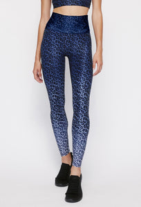 High Waist Reversible Leggings Blue Chill Cheetah - Twilight Camo