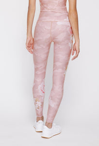 High Waist Reversible Leggings Blush Camo Peony - Blush Camo