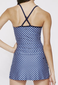 Avery Cropped Tank Navy Gingham SHIRT W.I.T.H.-Wear It To Heart