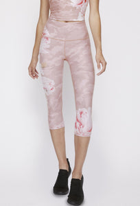 High Waisted Capris Blush Camo Peony PANTS W.I.T.H.-Wear It To Heart BLUSH CAMO PEONY XS