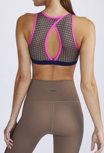 Triple Threat High Neck Bra 2.0 Sandstorm - Navy - Neon Pink Regen SHIRT W.I.T.H.-Wear It To Heart