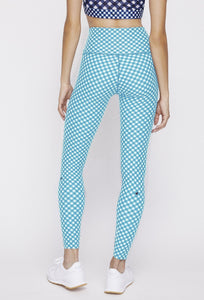 High Waist Reversible Leggings Black Gingham - Sky Blue Gingham PANTS W.I.T.H.-Wear It To Heart