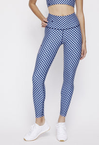 High Waist Reversible Leggings Navy Gingham - Sunshine Gingham PANTS W.I.T.H.-Wear It To Heart NAVY GINGHAM XS