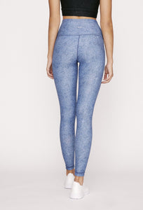 High-Waist Reversible Legging Blue Derby Stripe
