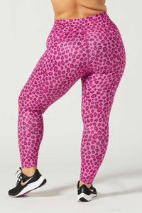 Rebel High Waist Legging Pink Foil Cheetah