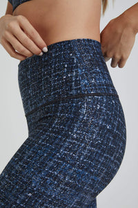 High Waisted Leggings Navy Tweed With Foil