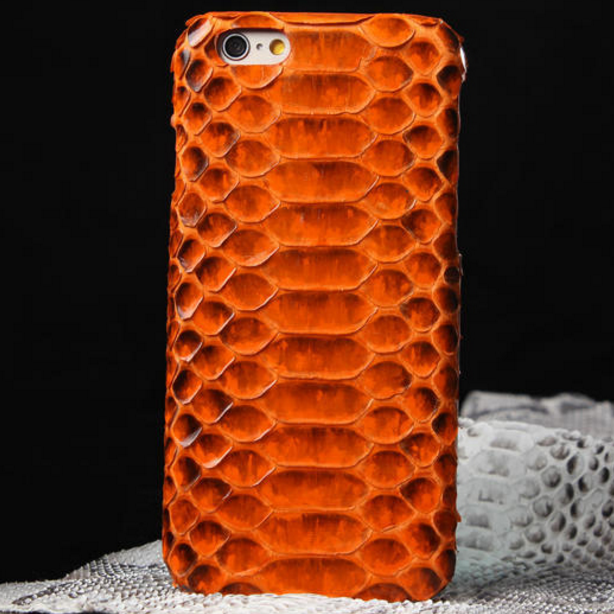 Iphone's case with luxury genuine anaconda skin leather