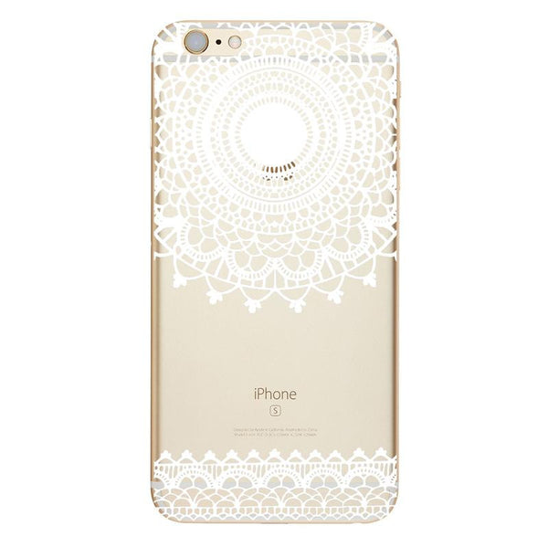 Iphone's cases with Mandala of vintage white floral paisley flower