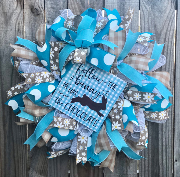 Chocolate Easter Bunny Turquoise | Rustic Spring Wreath Decor | Front Door Decor | Door Hanger