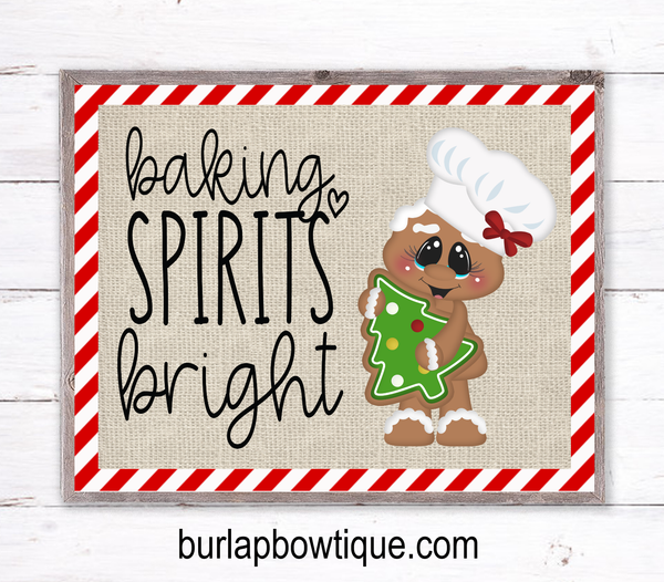 Baking Spirits Bright Gingerbread Christmas Sign, Wreath Sign Attachment, Rustic Sign, Farmhouse Decor