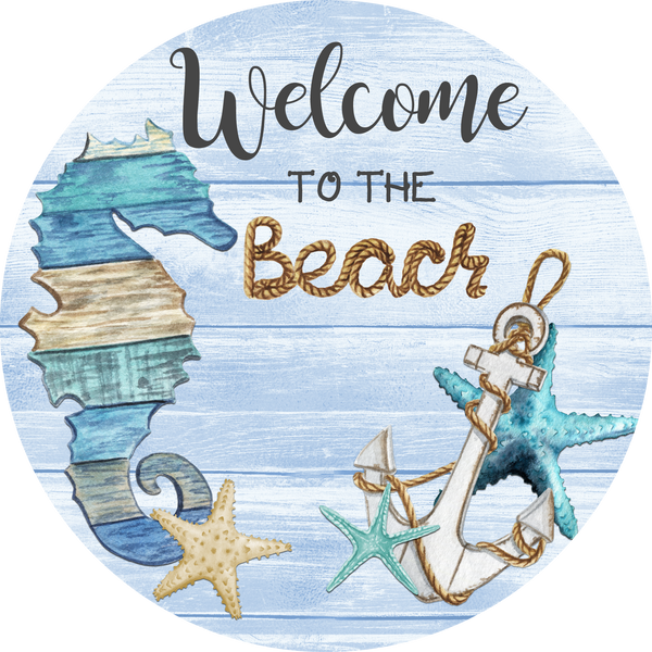 Welcome to the Beach Sign, Buffalo Plaid Summer Sign, Wreath Supplies, Wreath Attachment
