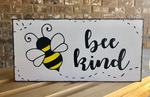 Bee Kind Sign, Wreath Sign Attachment, Welcome Summer Sign, Rustic Sign, Farmhouse Decor