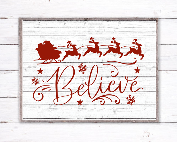 Believe Santa Sleigh Christmas Sign, Wreath Sign Attachment, Rustic Sign, Farmhouse Decor