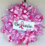 Believe Breast Cancer Wreath Kit,  Breast Cancer Awareness Wreath Kit, Wreath Supplies