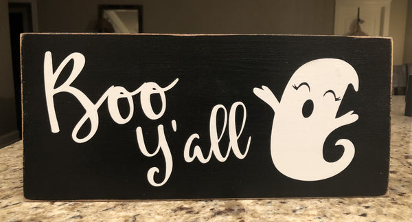 Boo Y'all Halloween Ghost Sign, Wreath Sign Attachment, Halloween Sign, Rustic Sign, Farmhouse Decor