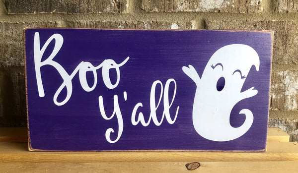 Boo Y'all Halloween Ghost Sign Purple, Wreath Sign Attachment, Halloween Sign