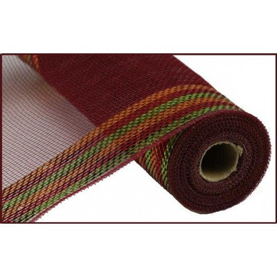 "Border Stripe Metallic Mesh Burgundy Copper Mesh 10.5"" x 10 YARD ROLL"