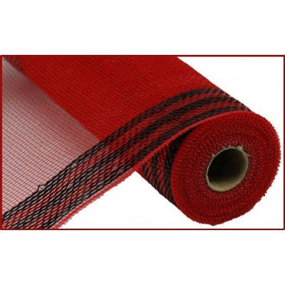 "Border Stripe Metallic Mesh Red with Black Mesh 10.5"" x 10 YARD ROLL"