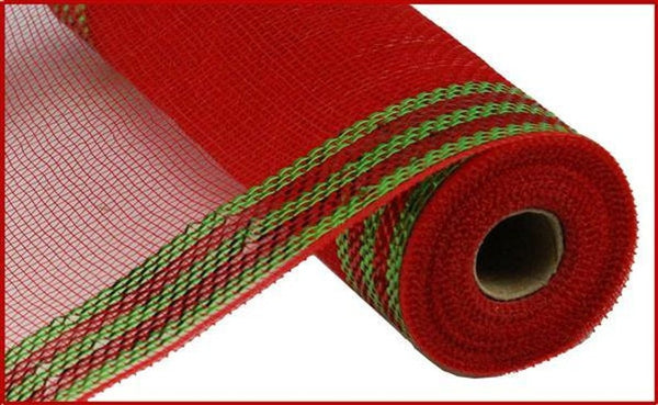 "Border Stripe Metallic Mesh Red with Lime Green 10.5"" x 10 YARD ROLL"