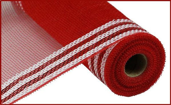 "Border Stripe Metallic Mesh Red with White 10.5"" x 10 YARD ROLL"