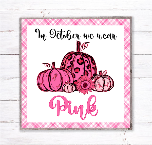 Leopard Pumpkins Breast Cancer Awareness Sign, Wreath Sign Attachment, Fall Sign