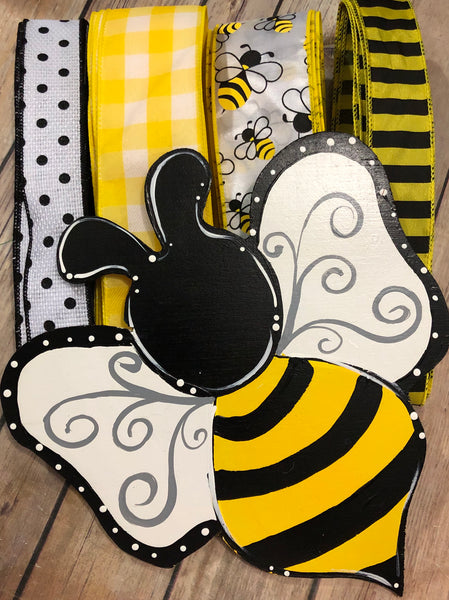 Bumble Bee Sign and Ribbon Kit, Wreath Kit, Wreath Supplies