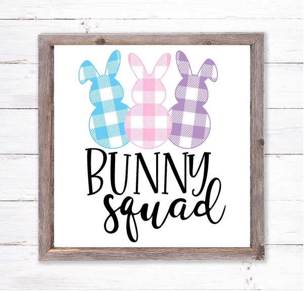 Buffalo Plaid Bunny Squad Easter Sign | Wreath Sign Attachment | Farmhouse Spring Sign