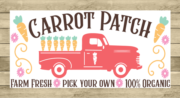 Carrot Patch Vintage Easter Truck Sign | Wreath Sign Attachment | Farmhouse Spring Sign