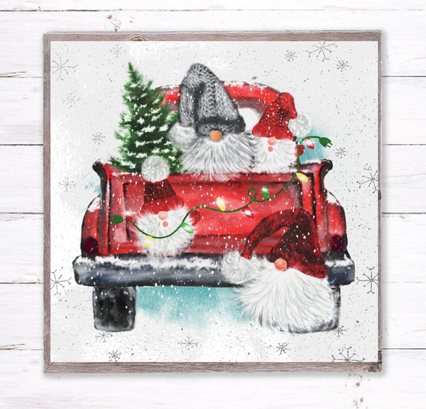 Christmas Gnome Truck Holiday Sign, Wreath Sign Attachment, Rustic Sign, Farmhouse Decor