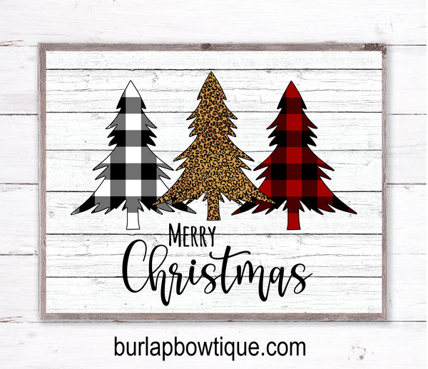 Christmas Trees, Leopard Tree, Plaid Tree Holiday Sign, Wreath Sign Attachment, Rustic Sign, Farmhouse Decor