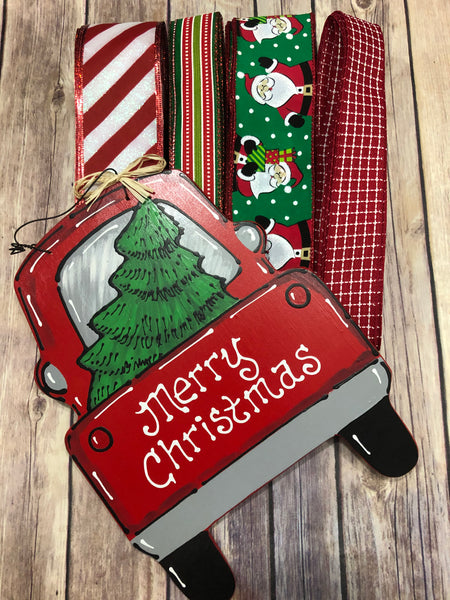 Merry Christmas Truck Sign and Ribbon Kit,  Christmas Wreath Kit, Wreath Supplies