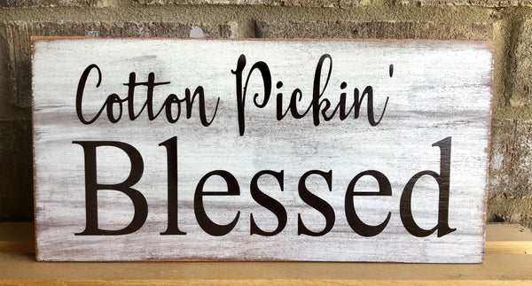 Cotton Pickin' Blessed Sign, Wreath Sign Attachment, Rustic Sign, Farmhouse Decor
