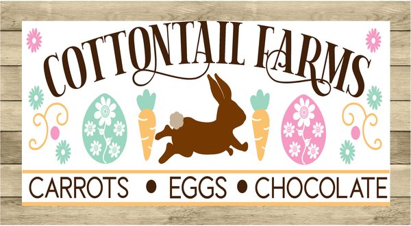 Cottontail Farms Vintage Easter Sign | Wreath Sign Attachment | Farmhouse Spring Sign