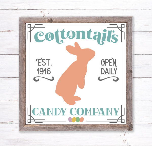 Cottontails Candy Co Easter Bunny Sign | Wreath Sign Attachment | Farmhouse Spring Truc kSign