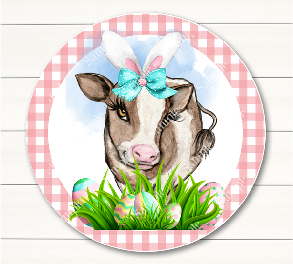 Spring Easter Cow Sign,  Bunny Cow, Wreath Sign Attachment, Rustic Sign. Spring Decor, Farmhosue