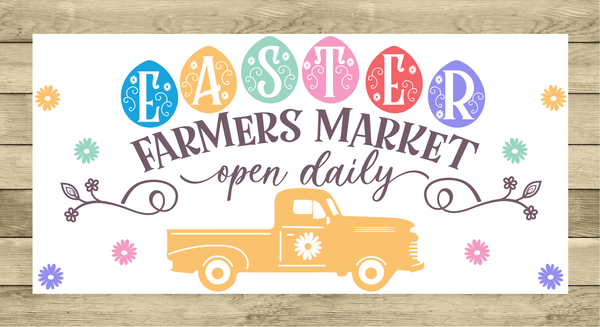 Easter Farmer's Market Vintage Truck Sign | Wreath Sign Attachment | Farmhouse Spring Sign