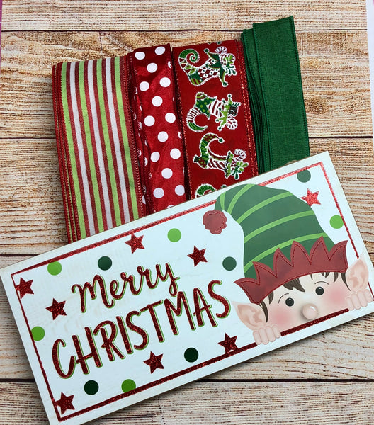 Elf Christmas Sign and Ribbon Kit,  Christmas Wreath Kit, Wreath Supplies