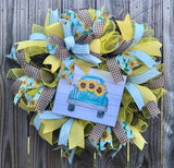 Fall Sunflower Truck Wreath Kit, Autumn Fall Wreath Kit, Wreath Supplies