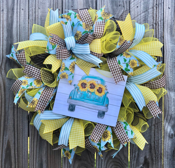 Fall Sunflower Vintage Truck Wreath | Rustic Wreath Decor | Front Door Decor | Door Hanger